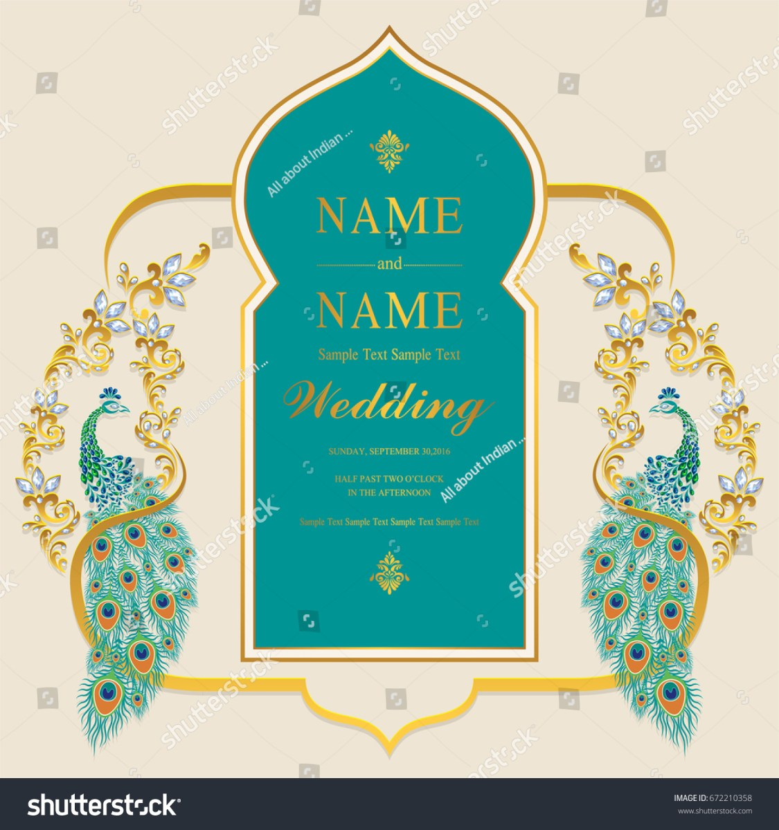 Indian Wedding Invitation Indian Wedding Invitation Card Templates Gold Stock Vector Royalty
