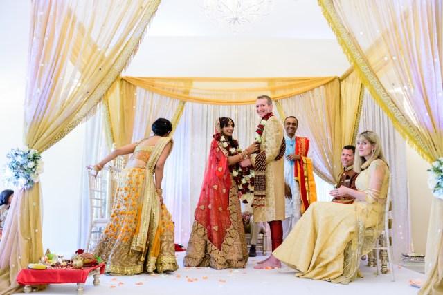 Intamite Wedding Ceremony Happy Bride With Groom Indian Wedding Ceremony Small Intimate