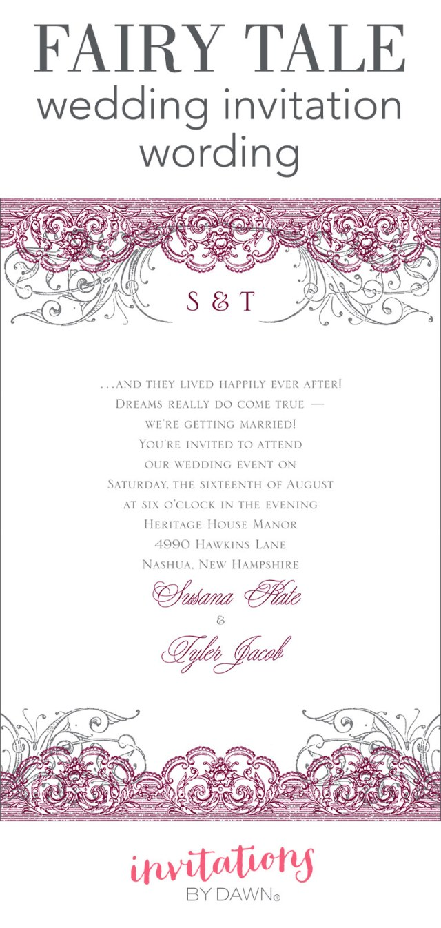 Invitation To Our Wedding Fairy Tale Wedding Invitation Wording Invitations Dawn