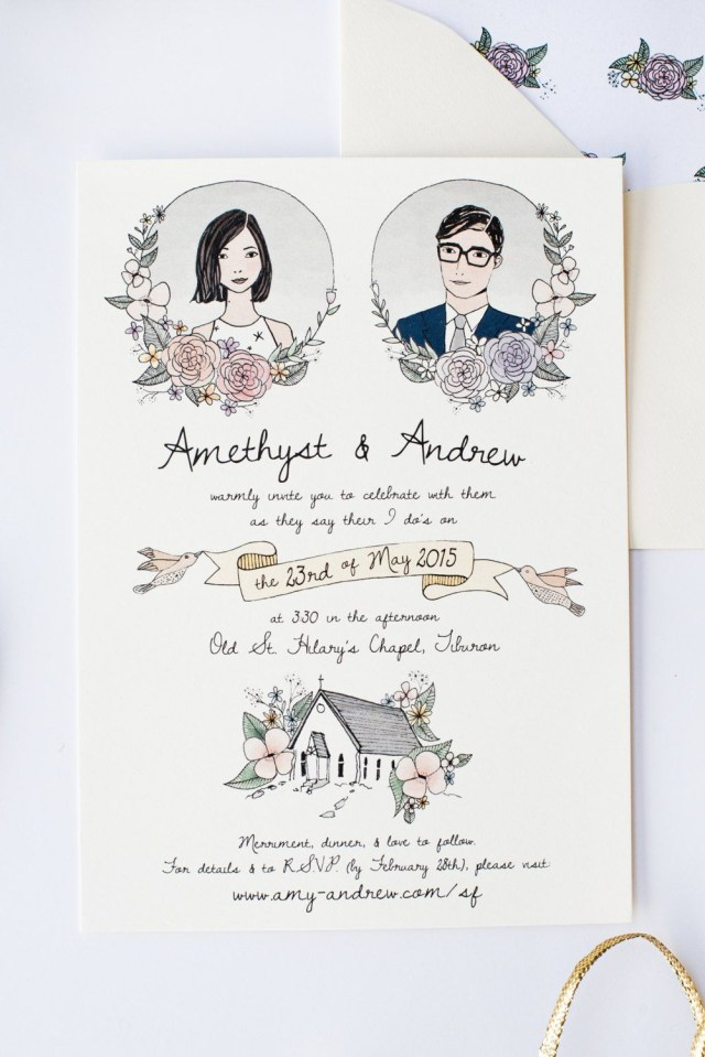 Invitations For Wedding Illustrated Wedding Invitation Custom Hand Drawn Invitation For