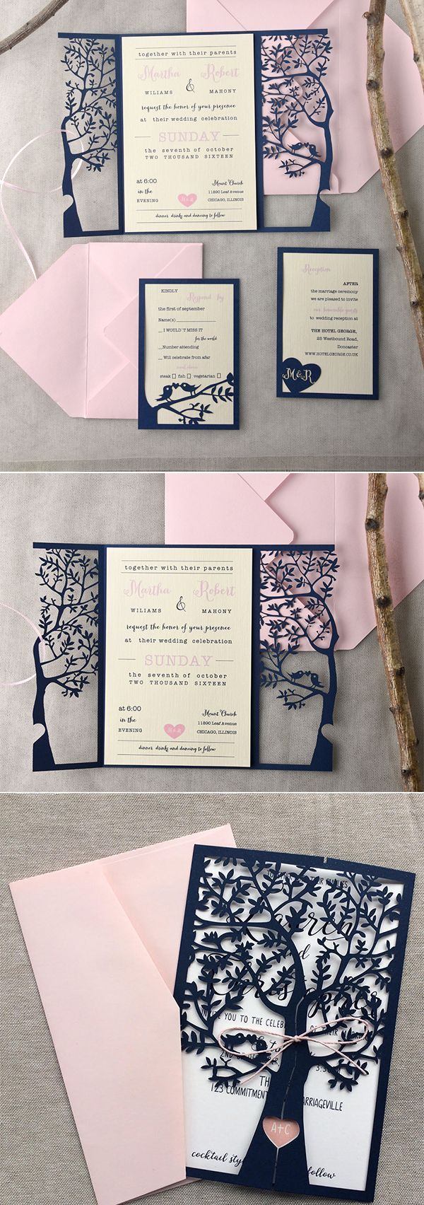Invitations Wedding Cheap Navy Blue Laser Cut Wedding Invitations Blush Pink Wedding