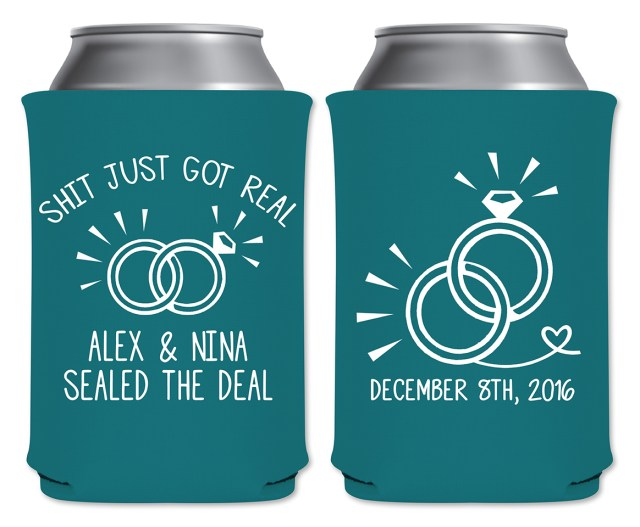 Koozie Ideas Wedding Shit Just Got Real 1a Collapsible Custom Coolers Wedding Favors