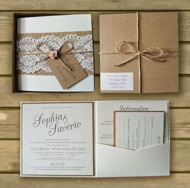 Kraft Wedding Invitations Bespoke Boxed Kraft Wedding Invitations Lace Hessian Kate