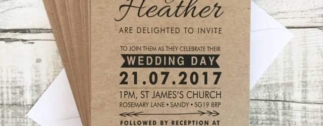 Kraft Wedding Invitations Bespoke Vintage Kraft Wedding Invitations Violet Pickles