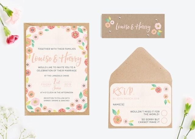 Kraft Wedding Invitations Bright Floral Kraft Wedding Invitations Normadorothy