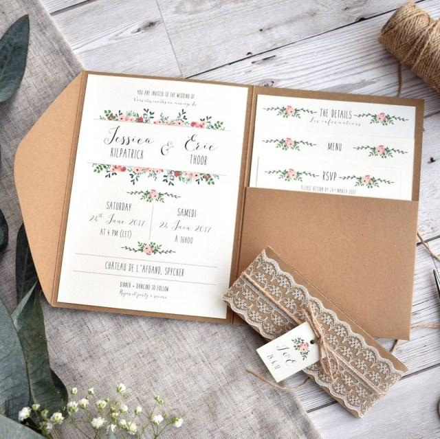 Kraft Wedding Invitations Floral And Kraft Wedding Invitation Set Oops A Doodle