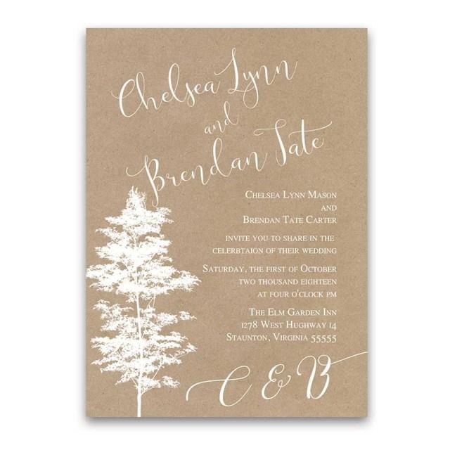Kraft Wedding Invitations Forest Wedding Invitation Tree Silhouette On Rustic Kraft Paper