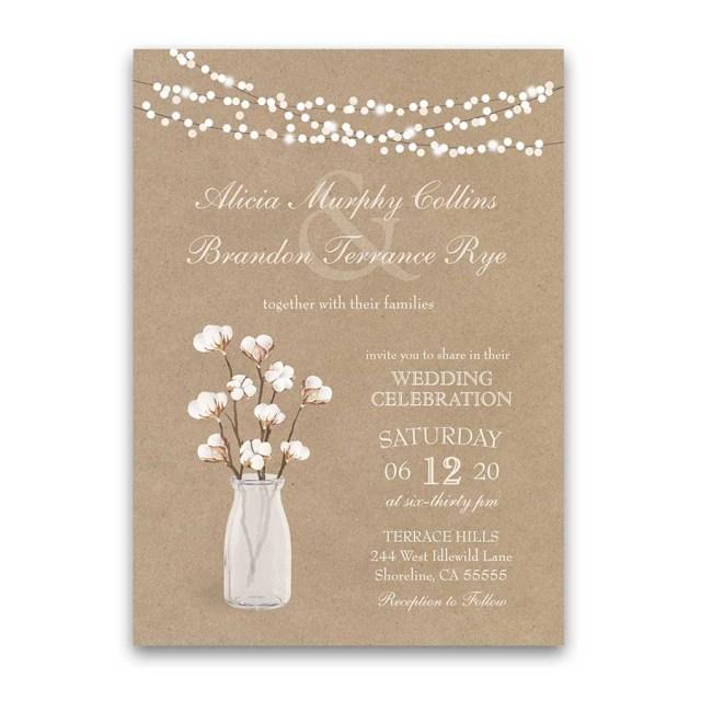 Kraft Wedding Invitations Rustic Kraft Paper Wedding Invitation Cotton Branches Southern Wedding