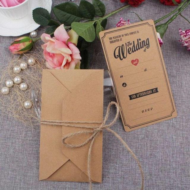 Kraft Wedding Invitations Vintage Kraft Wedding Invitations Cards With Envelopes Greeting