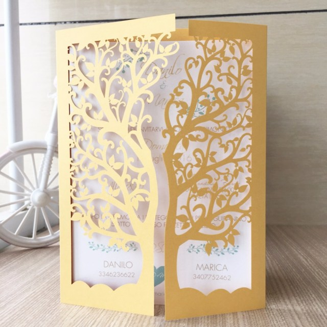 Laser Cut Tree Wedding Invitations 30pcslot Laser Cut Tree Inviting Card Paper Party Event Supplies