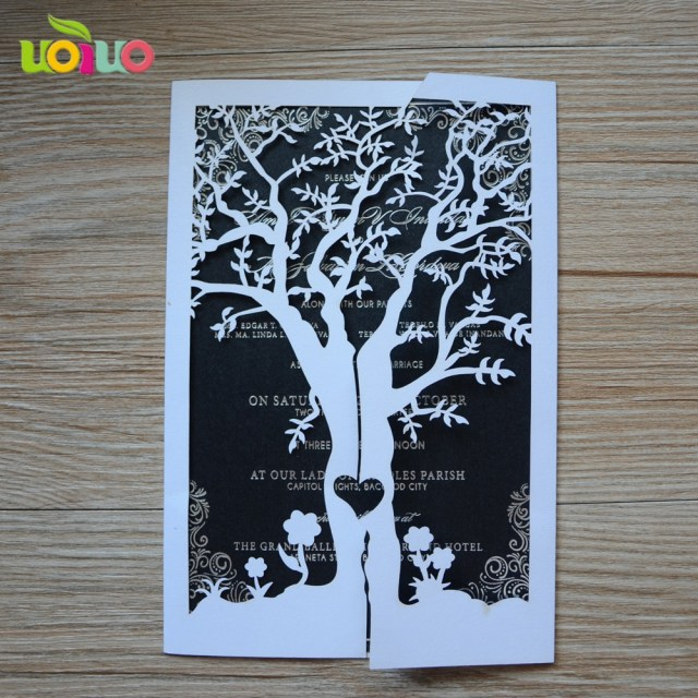 Laser Cut Tree Wedding Invitations Aliexpress Buy Free Sihpping Elegant Various Colors Customized