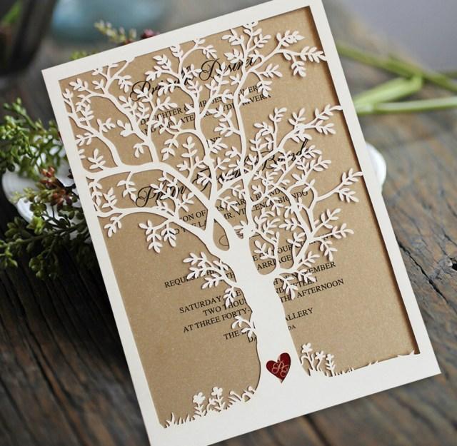 Laser Cut Tree Wedding Invitations Laser Cut Tree Wedding Invitations Fall Wedding Invitation Cards