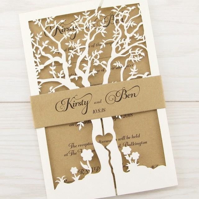 Laser Cut Tree Wedding Invitations Laurel Tree With Belly Band Wedding Invitation Pure Invitation