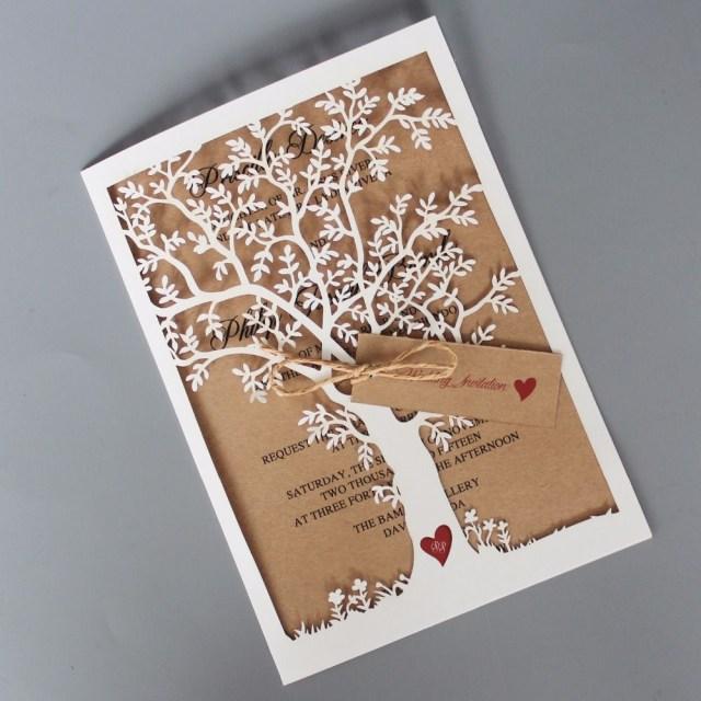 Laser Cut Tree Wedding Invitations Rustic Wedding Invitation Laser Cut Wedding Invitation Cards Tree