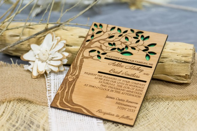 Laser Cut Tree Wedding Invitations Tree Wedding Invitation Wooden Forest Invitation Laser Cut Etsy