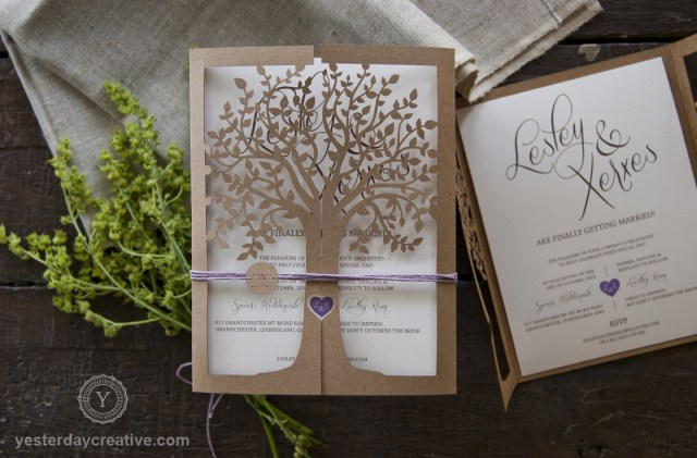 Laser Cut Tree Wedding Invitations Vintage Lasercut Tree Pocket Yesterday Creative Letterpress And