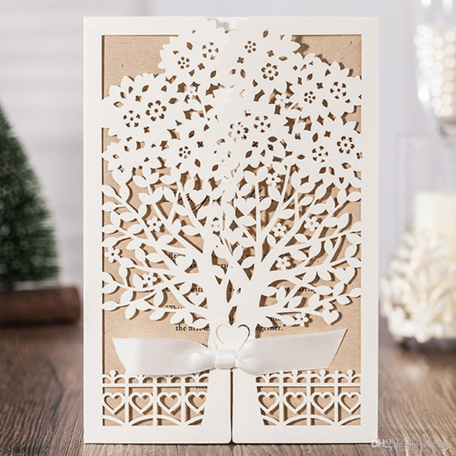 Laser Cut Tree Wedding Invitations Wishmade Laser Cut Wedding Invitations With White Engagement Tree