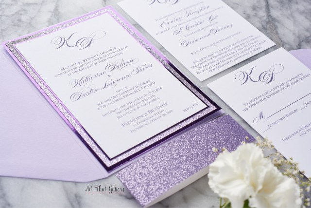 Lavender Wedding Invitations Katherine Foil And Glitter Wedding Invitation All That Glitters