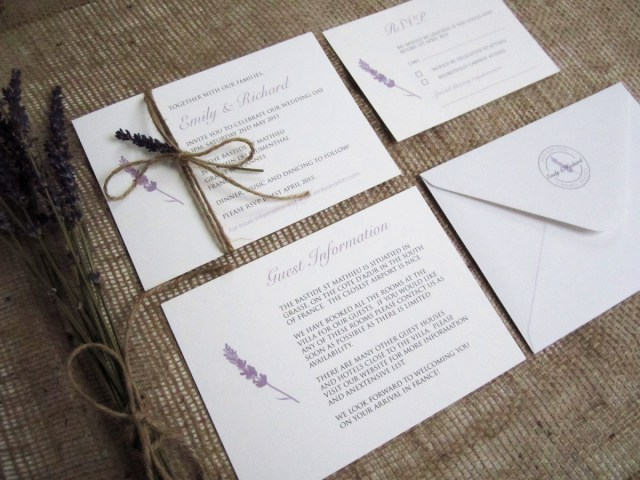 Lavender Wedding Invitations Lavender Love Rustic Wedding Stationery Suite Sj Wedding