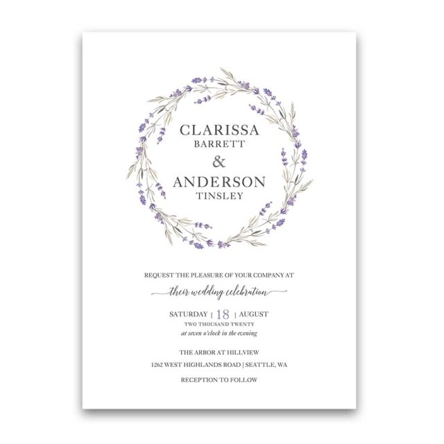 Lavender Wedding Invitations Lavender Wedding Invitations Floral Wreath Lilac Wedding Color