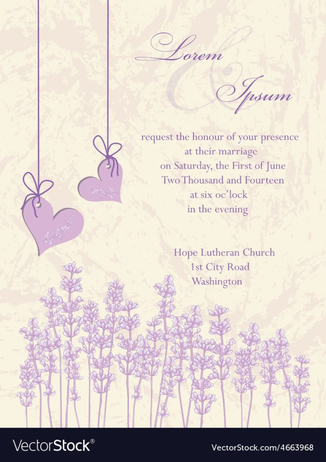 Lavender Wedding Invitations Wedding Invitation Card Lavender Background Vector Image