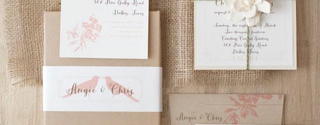 Love Birds Wedding Invitations Peach Love Birds Customizable Vintage Boxed Wedding Invitations