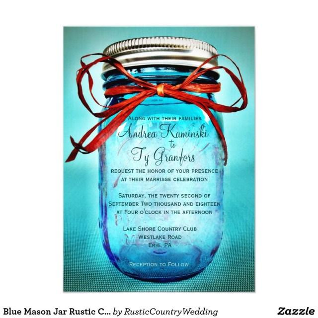 Mason Jar Wedding Invitation Kits Blue Mason Jar Rustic Country Wedding Invitations Pinterest