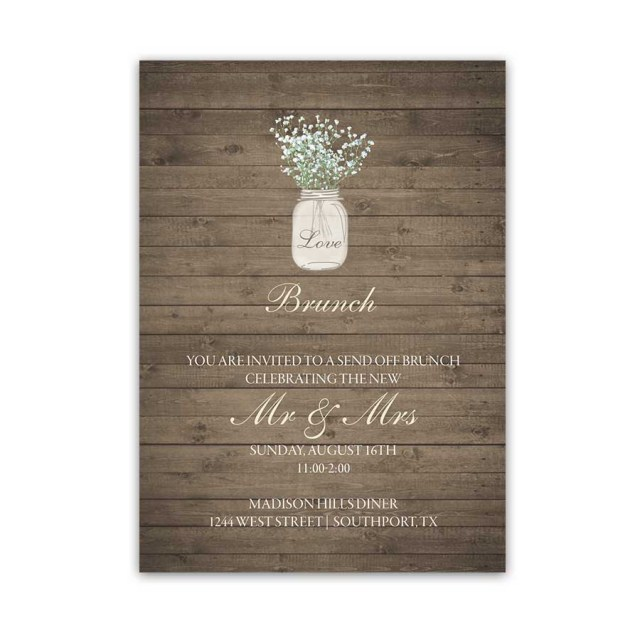 Mason Jar Wedding Invitation Kits Rustic Mason Jar Wedding Reception Details Cards