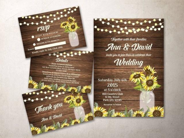 Mason Jar Wedding Invitation Kits Rustic Wedding Invitation Suite Printable Sunflower Wedding