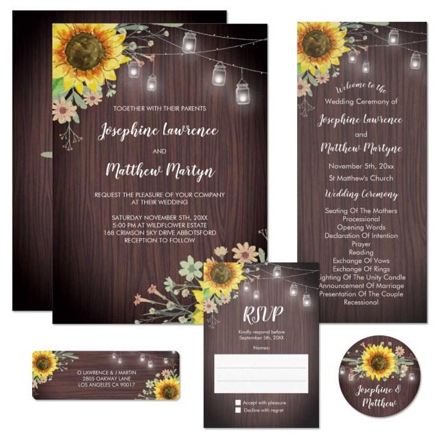 Mason Jar Wedding Invitation Kits Sunflower Mason Jar Wedding Invitations With Wood Background