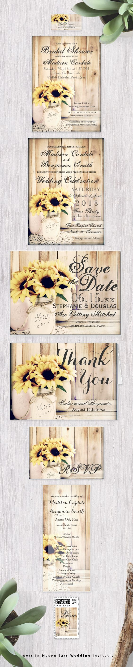 Mason Jar Wedding Invitation Kits Sunflowers In Mason Jars Wedding Invitation Set With Bouquets Of