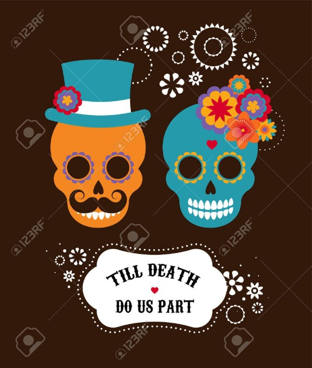 Mexican Wedding Invitations Mexican Wedding Invitation With Two Cute Hipster Skulls Royalty Free