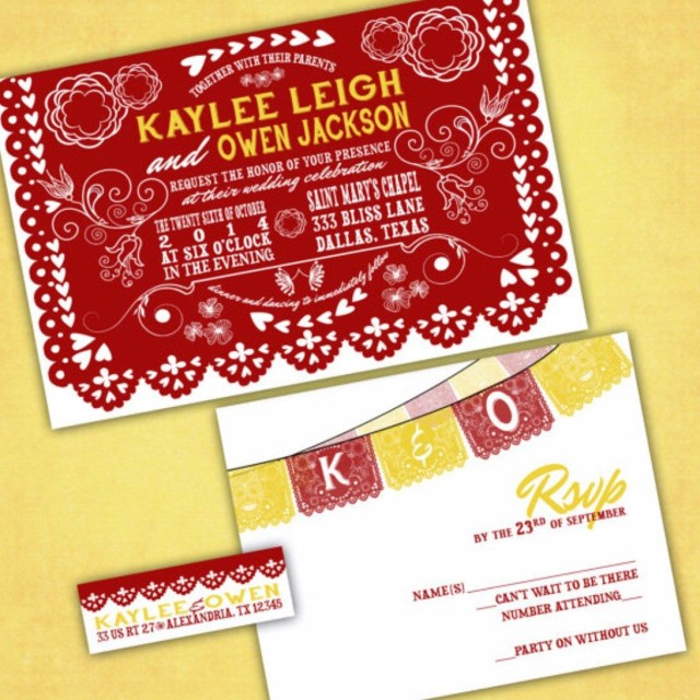 Mexican Wedding Invitations These Mexican Cutout Banner Wedding Invitations Would Work