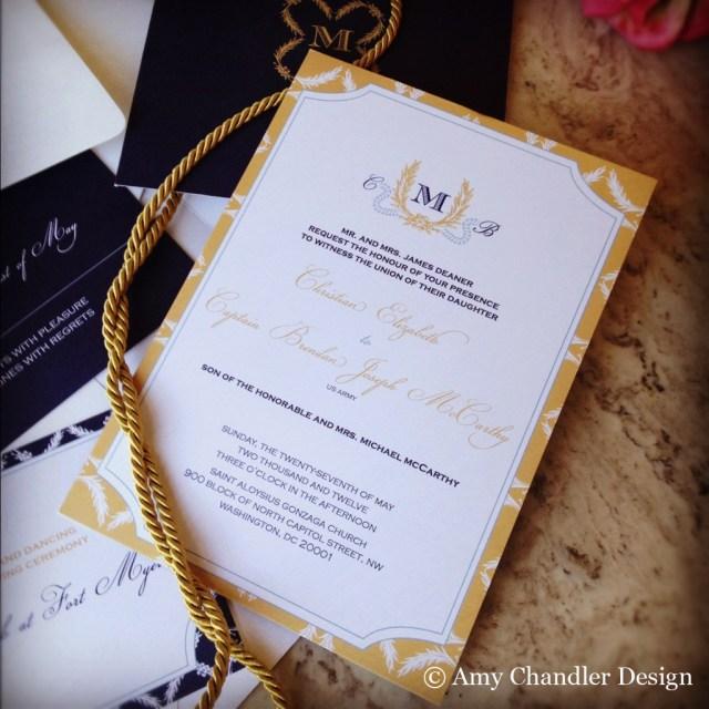 Military Wedding Invitations Deaner Mccarthy Military Wedding Amy Chandler Design