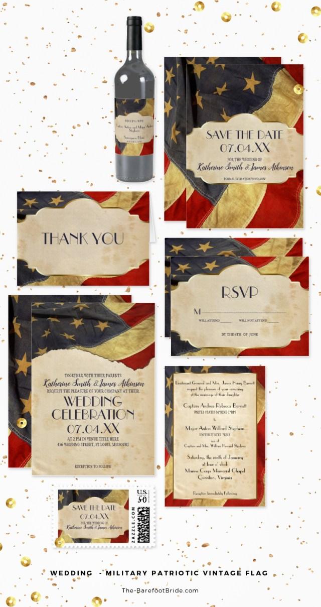 Military Wedding Invitations Military Wedding Patriotic Vintage Flag The Barefoot Bride