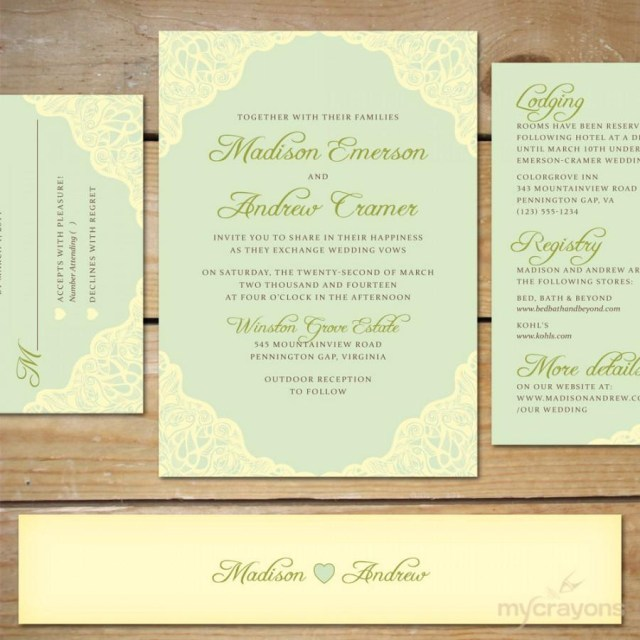 Minted Wedding Invitations Mint Wedding Invitation Suite Diy Printable Wedding Invitations