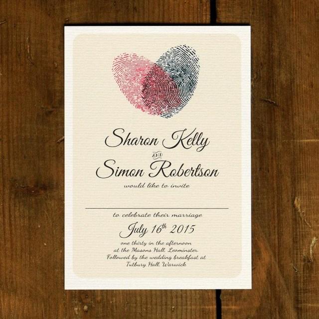 Modern Wedding Invitations Fingerprint Heart Wedding Invitation Set On Luxury Card Modern
