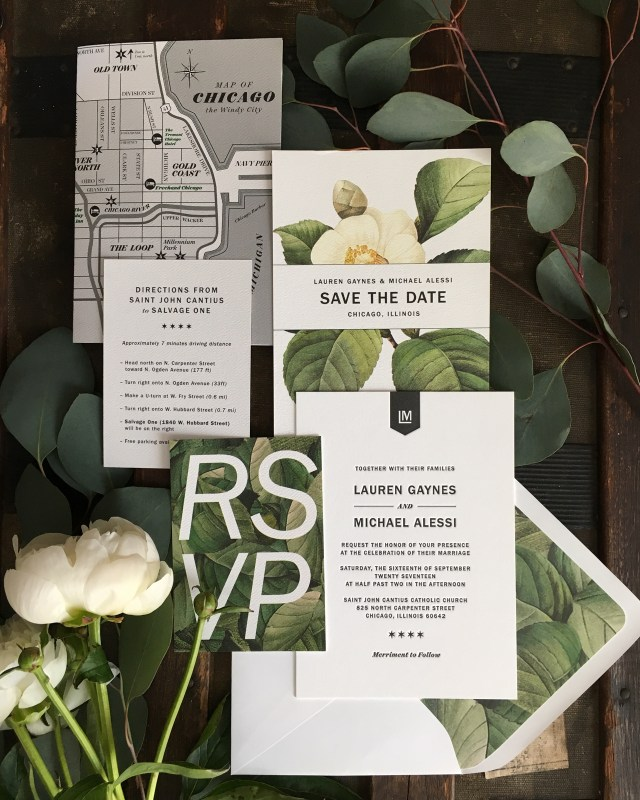 Modern Wedding Invitations Modern Botanical Chicago Wedding Invitations