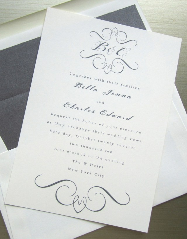 Monogram Wedding Invitations Elegant Wedding Invites White Gray With Custom Monogram