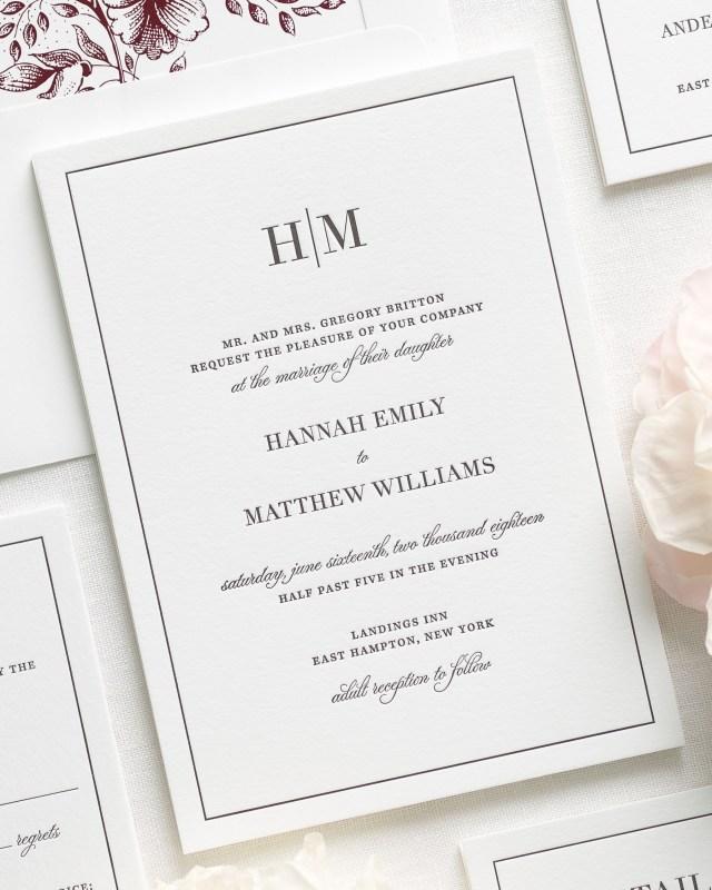 Monogram Wedding Invitations Glam Monogram Letterpress Wedding Invitations Letterpress Wedding