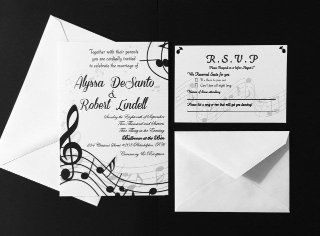 Music Themed Wedding Invitations Self Print Music Themed Wedding Invitations