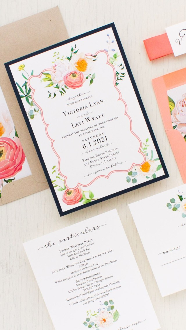 Navy And Coral Wedding Invitations Elegant Coral Wedding Invitations Wedding Invitations Pinterest