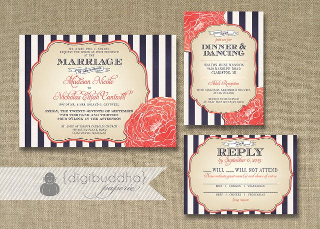 Navy And Coral Wedding Invitations Navy And Coral Wedding Invitations Navy And Coral Wedding