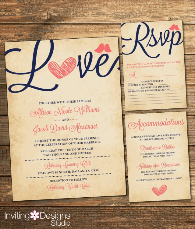 Navy And Coral Wedding Invitations Rustic Wedding Invitation Love Bird Coral And Navy Vintage Etsy