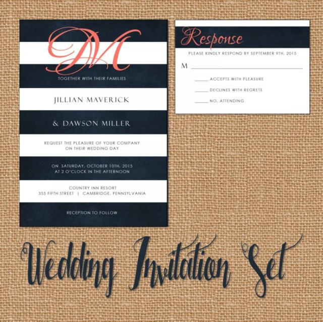 Navy And Coral Wedding Invitations Wedding Invitation Suite Wedding Invitation Navy And Coral