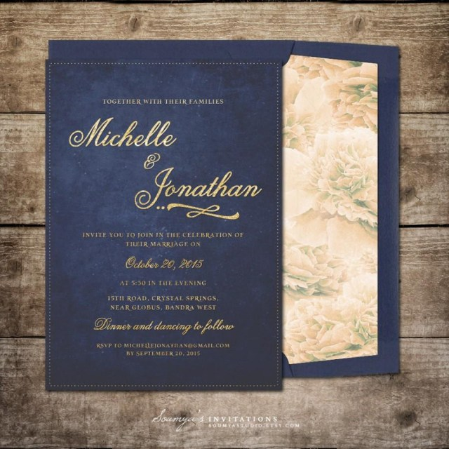 Navy And Gold Wedding Invitations Navy Blue And Gold Wedding Invitation Printable Wedding Invitation