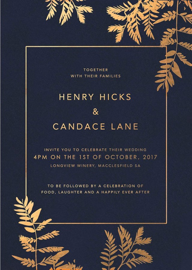 Navy And Gold Wedding Invitations Navy Luscious Fern Foil Wedding Invitations Design Wedding