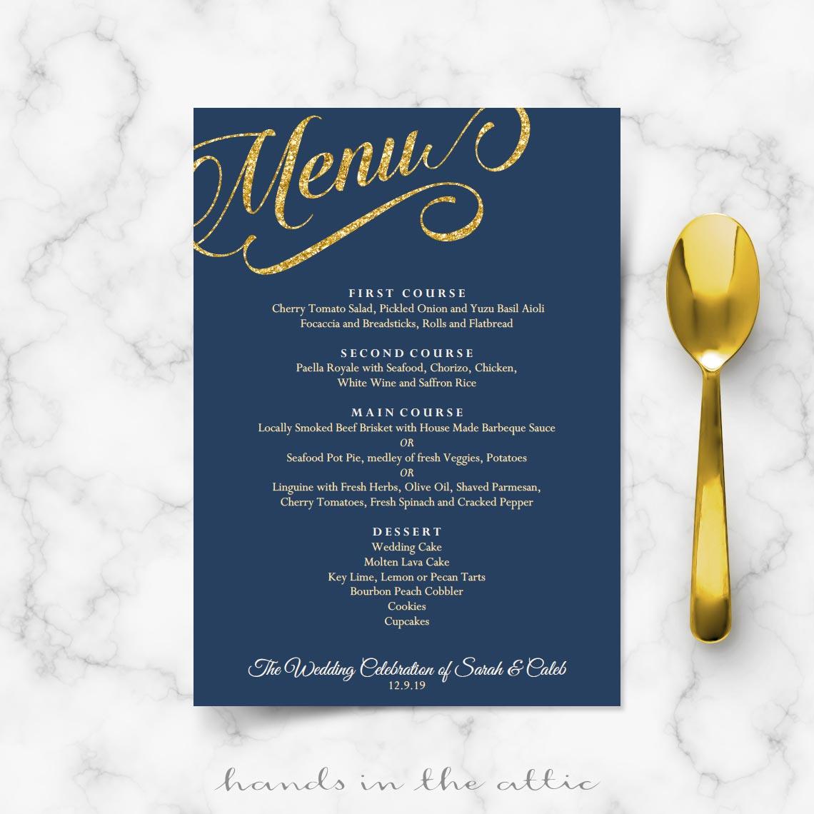 Navy Blue And Gold Wedding Invitations Navy Blue And Gold Wedding Menu Template Reception Menu Cards