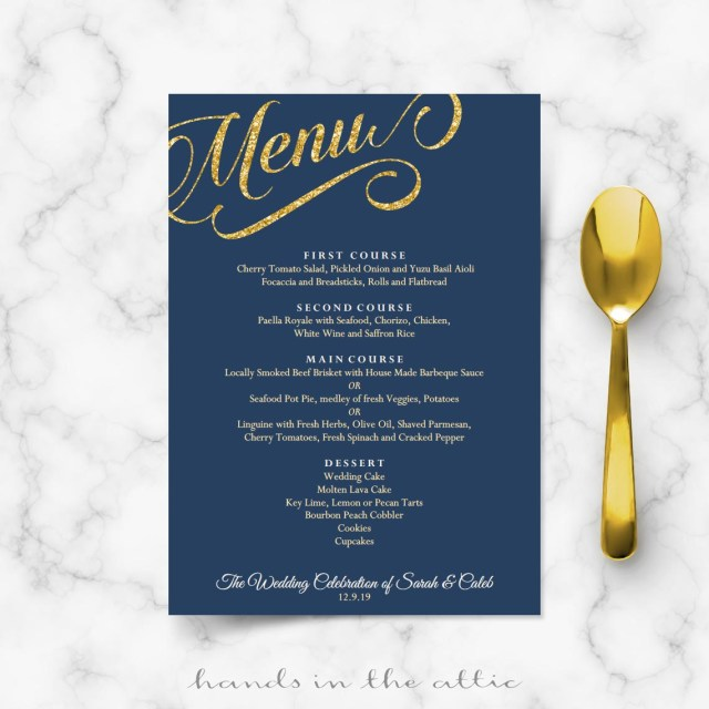 Navy Blue And Gold Wedding Invitations Navy Blue And Gold Wedding Menu Template Reception Menu Cards