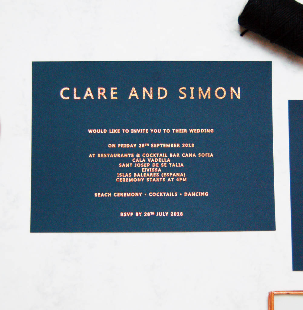 Navy Blue And Gold Wedding Invitations Rose Gold And Navy Copper Foil Wedding Invitation Made With Love